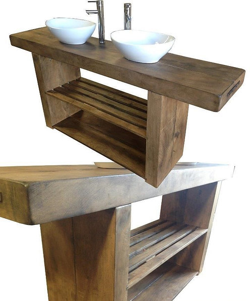 Vanity Unit Wash Stand Sink Basin Solid Oak Bespoke Rustic Jacobean Wax Finish