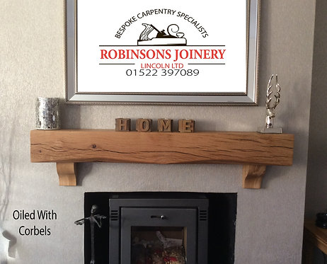 Oak mantelpiece mantle with corbels floating shelf 6x6inch oiled hand crafted
