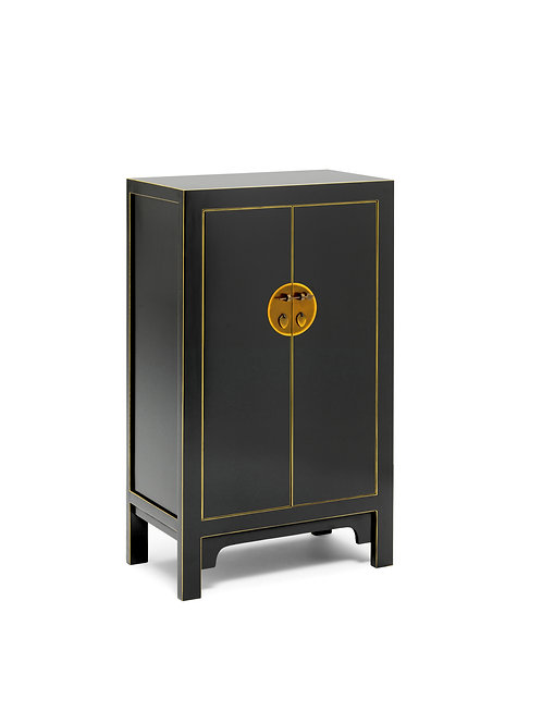 The Nine Schools Qing Black and Gilt Medium Cabinet