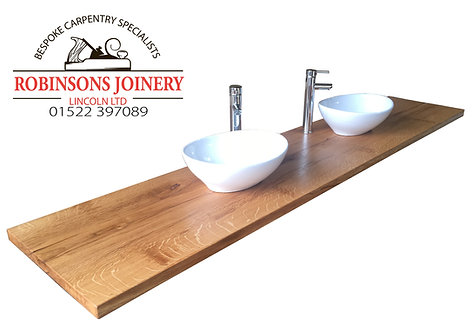 Floating Vanity Unit Top Wash Slab Sink Basins Solid Oak Bespoke Rustic In Rusti