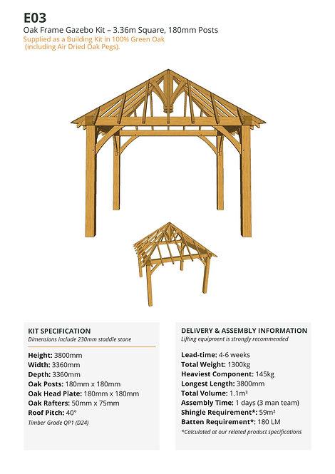 Oak Frame Gazebo Kit – 3.36m Square, 180mm Posts