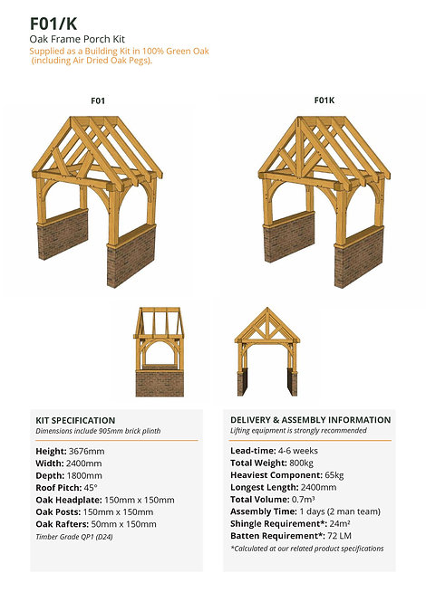 Oak Frame Porch Kit – Brick Plinth