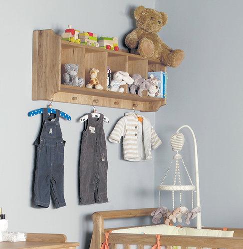 Amelie Oak Wall Shelf with Hanging Pegs
