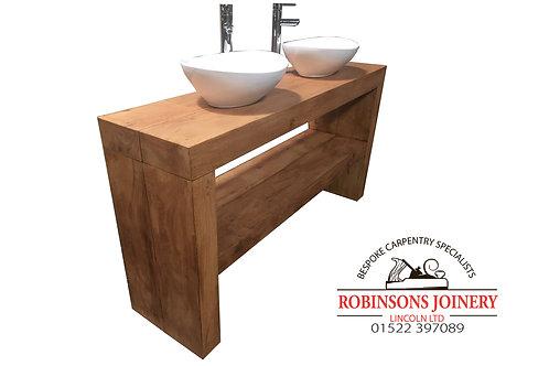 Vanity Unit Wash Stand Sink Basin Solid Oak Bespoke Rustic Waxed Finish