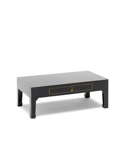 The Nine Schools Qing Black and Gilt Coffee Table with Drawer
