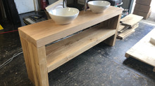Solid oak vanity unit with basins finished and waxed for free delivery. We ship all over Europe plea