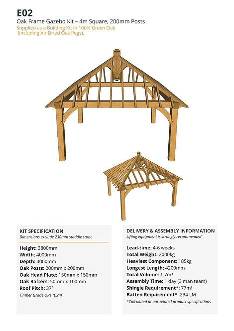 Oak Frame Gazebo Kit – 4m Square, 200mm Posts