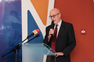 """Professor Krzysztof Dębnicki, Designate of the Republic of Poland to Brunei giving a speech at the """"Tatars: Muslims in the Republic of Poland"""" exhibition held at Laksamana College of Business on April 15, 2019. Photo: Hazimul Wa'ie/The Scoop"""