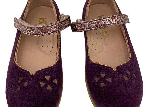 Sparkle velcro suede shoe