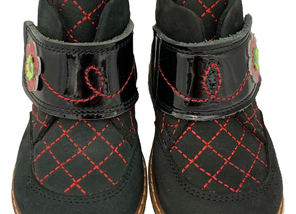 Black toddler boot with red stitching
