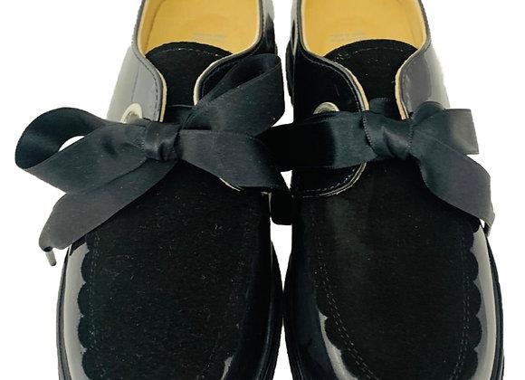 Patent & velvet satin bow school shoe