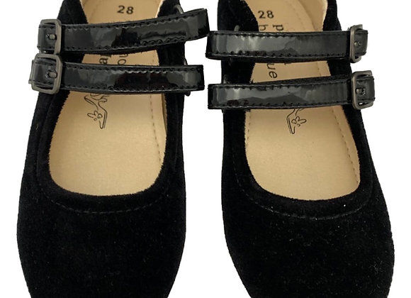Double buckle velcro velvet shoe