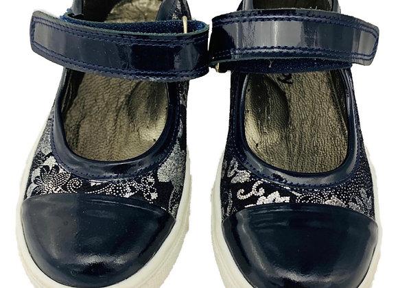 Girls navy velcro school shoe