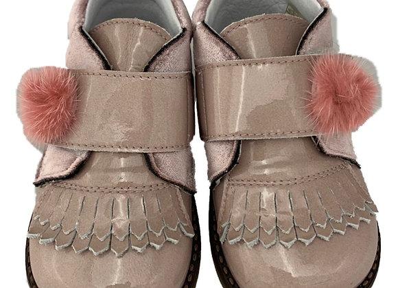 Pink toddler crushed velvet with Pom Pom shoe