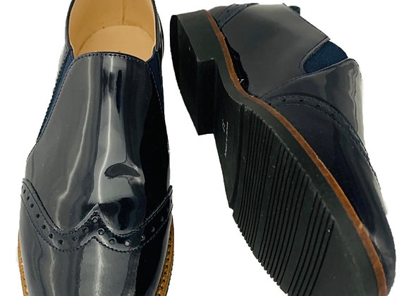 Patent slip on school shoe