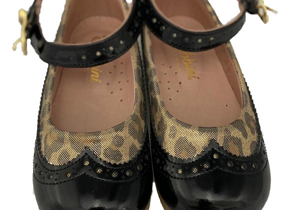 Black and leopard Girls shoe