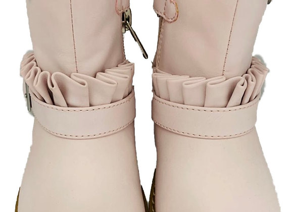 Pink leather boots