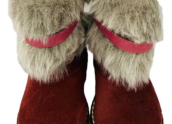 Burgundy Floral Fur Boots