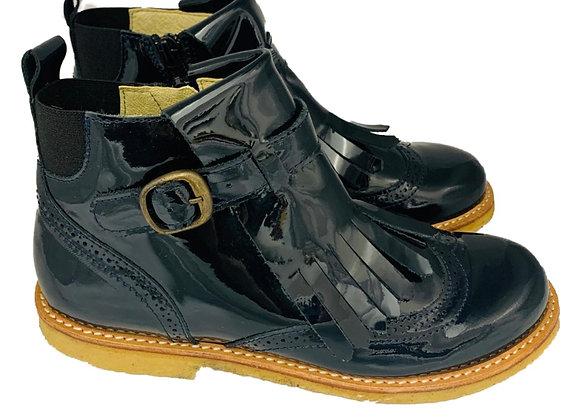 Patent tassel boots