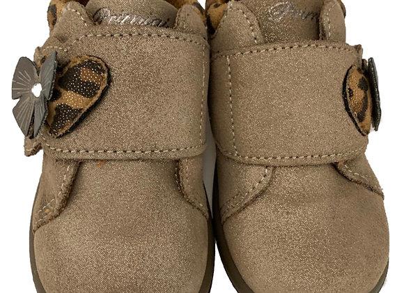 Camel leopard print toddler shoe