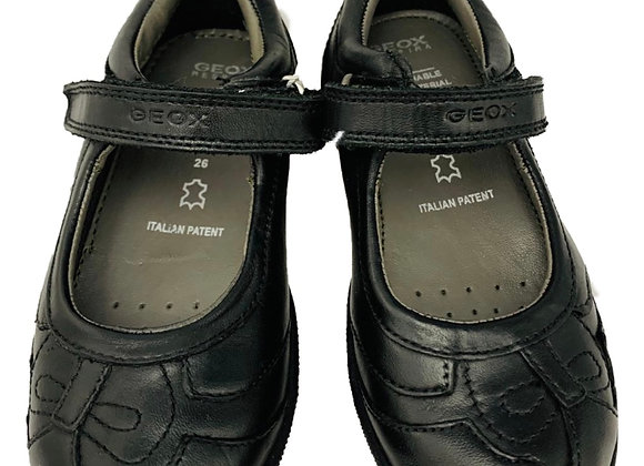 Geox black velcro school shoe