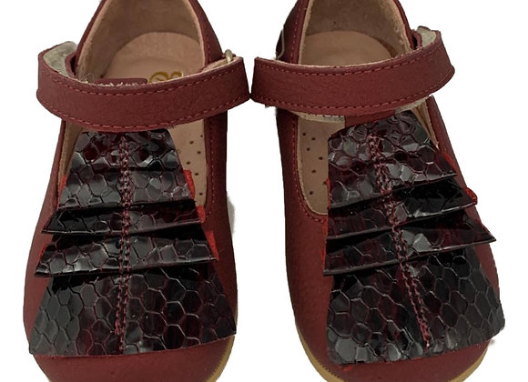 Maroon and leather girls shoe