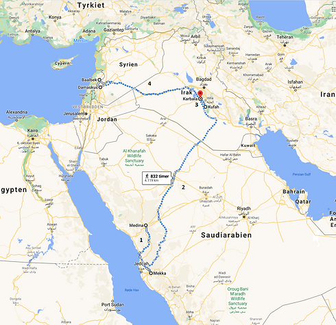 Google maps Medina, Mekka, Karbala, Kufa