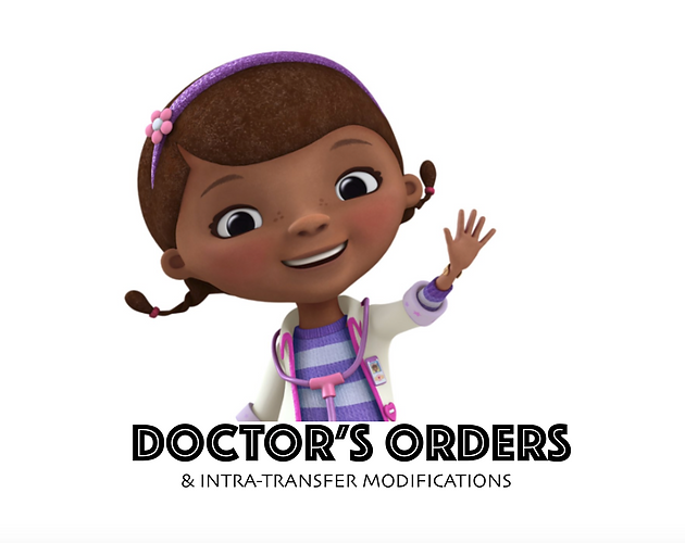 Doctor's Orders & Intra-Transfer Modifications Of Care