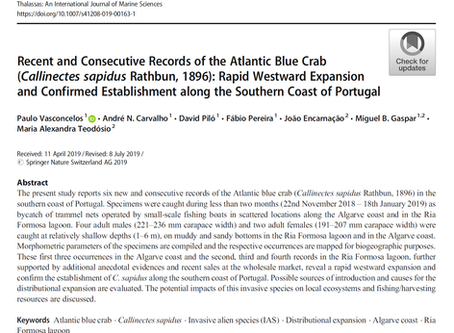 Artigo publicado sobre a expansão do caranguejo azul no Algarve