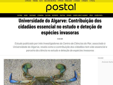 Notícia no Postal do Algarve sobre ciência cidadã e invasões biológicas