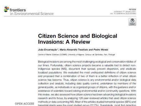 Artigo publicado sobre os contributos da ciência cidadã para o estudo das invasões biológicas