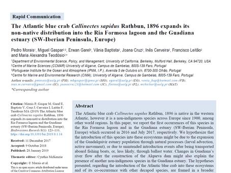 Artigo publicado sobre os primeiros registos do caranguejo azul no Algarve