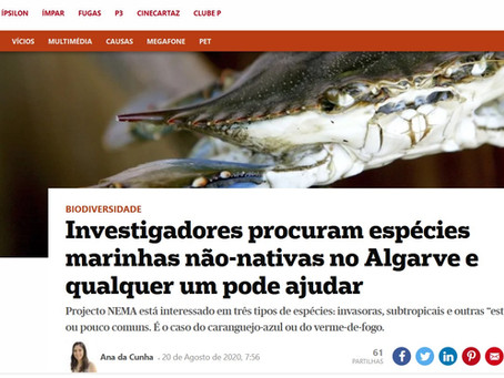 Notícia no Jornal Público sobre espécies invasoras