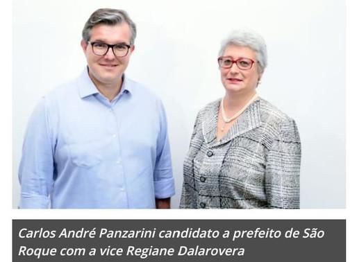 Carlos André disputa a Prefeitura de São Roque pelo PTB com a vice Regiane Dalarovera