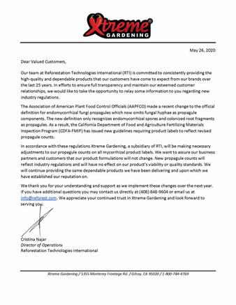 Mycorrhizal Propagules: Press Release May 2020