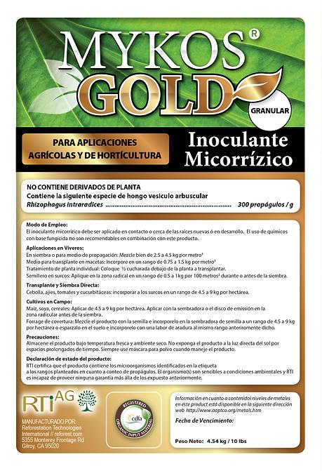 Mykos Ag GOLD 10 lb bag label - SPANISH.