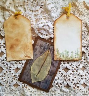 Skeleton Leaf Journal Tag Double Pocket