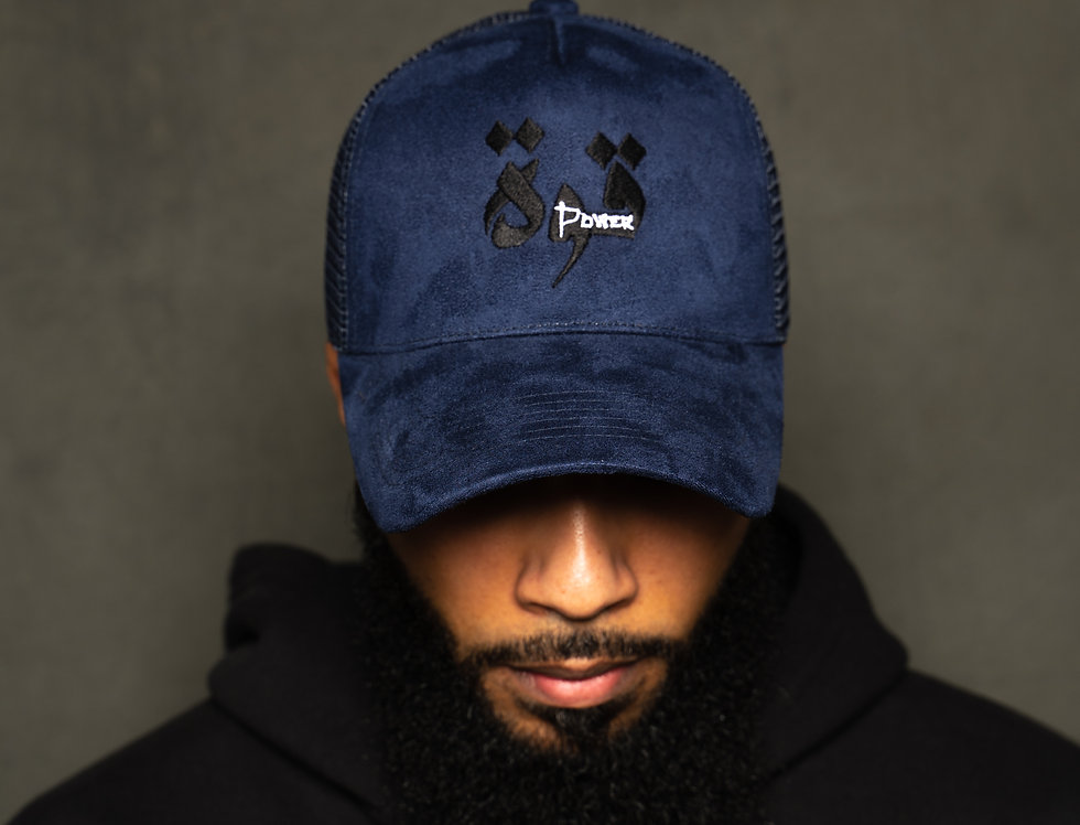 Navy Suede Power Arabic Hat