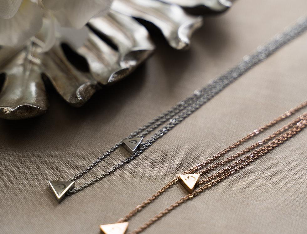 Custom Alphabet Double Triangle Necklace