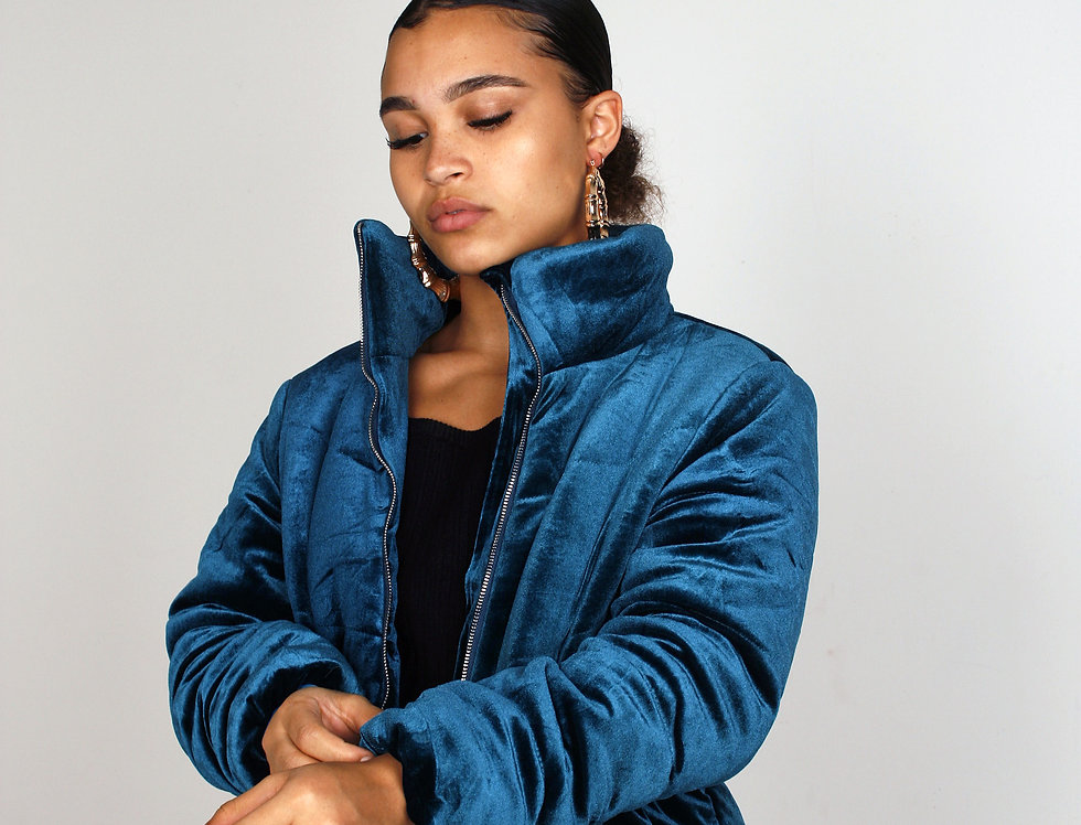 Women's Blue Velvet Puffer Jacket