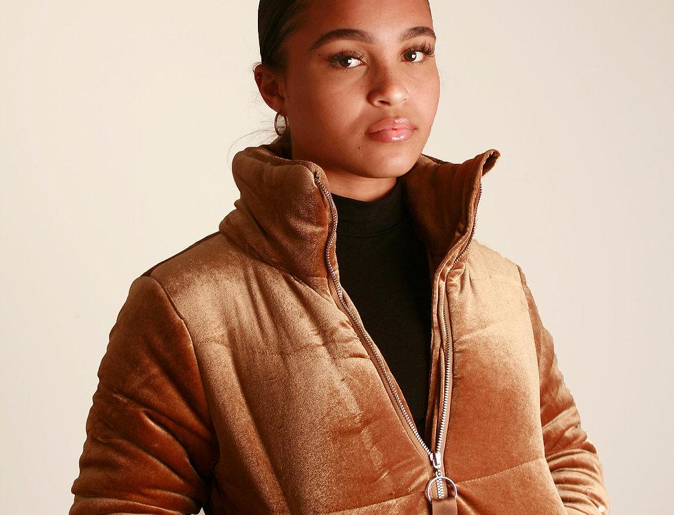 Gold Velvet Puffer Jacket