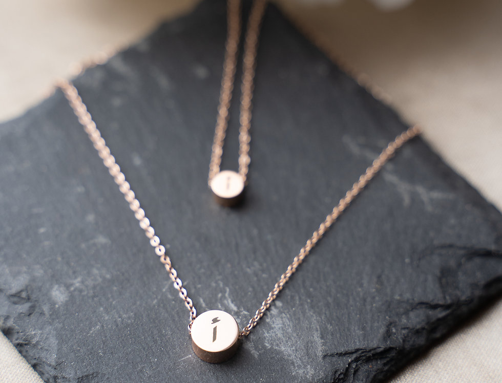 Custom Alphabet Double Circle Necklace