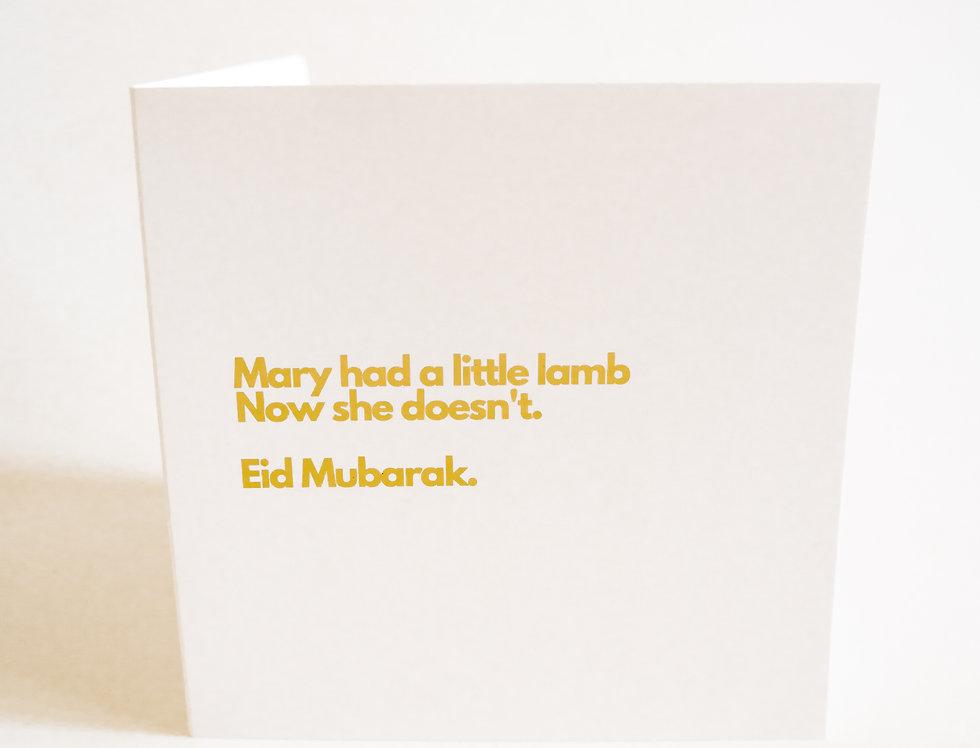 Mary had a little lamb Card