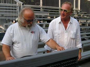 Lutz Rath hels the sound man tweak the settings