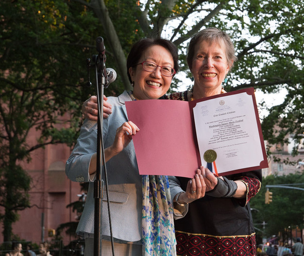 The Hon. Margaret Chin presenting NYC commendation to Peggy Friedman
