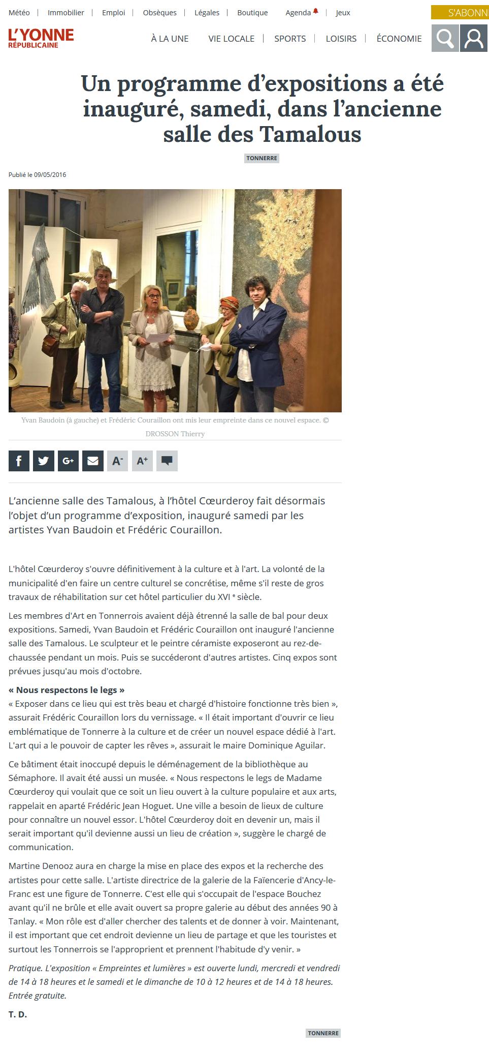 L'Yonne républicaine - 9 mai 2016