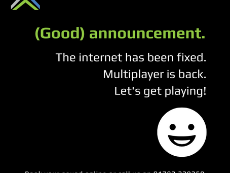 Internet connectivity issues - now fully resolved.