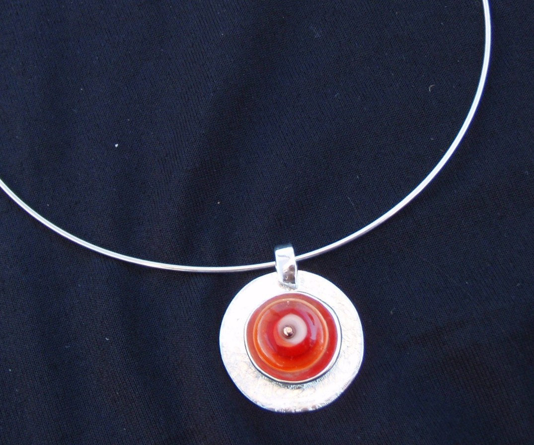 Silver and bead pendant