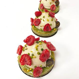 Raspberry pistachio dacquoise by Jean-Michel Briend
