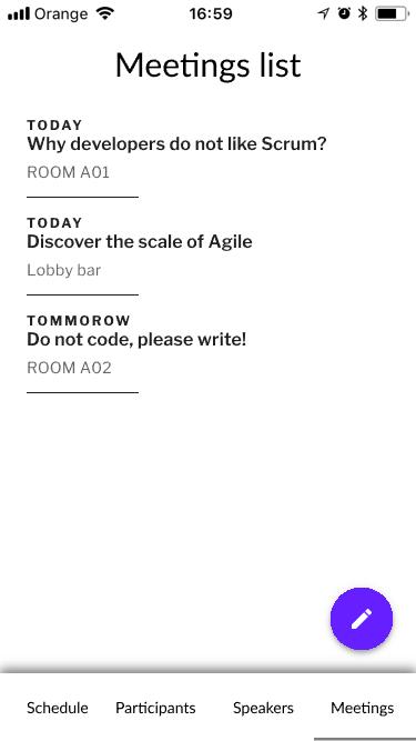 Meetings list